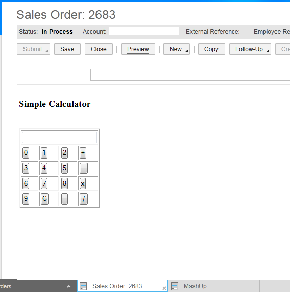 sales order - Mashup sap cloud application studio
