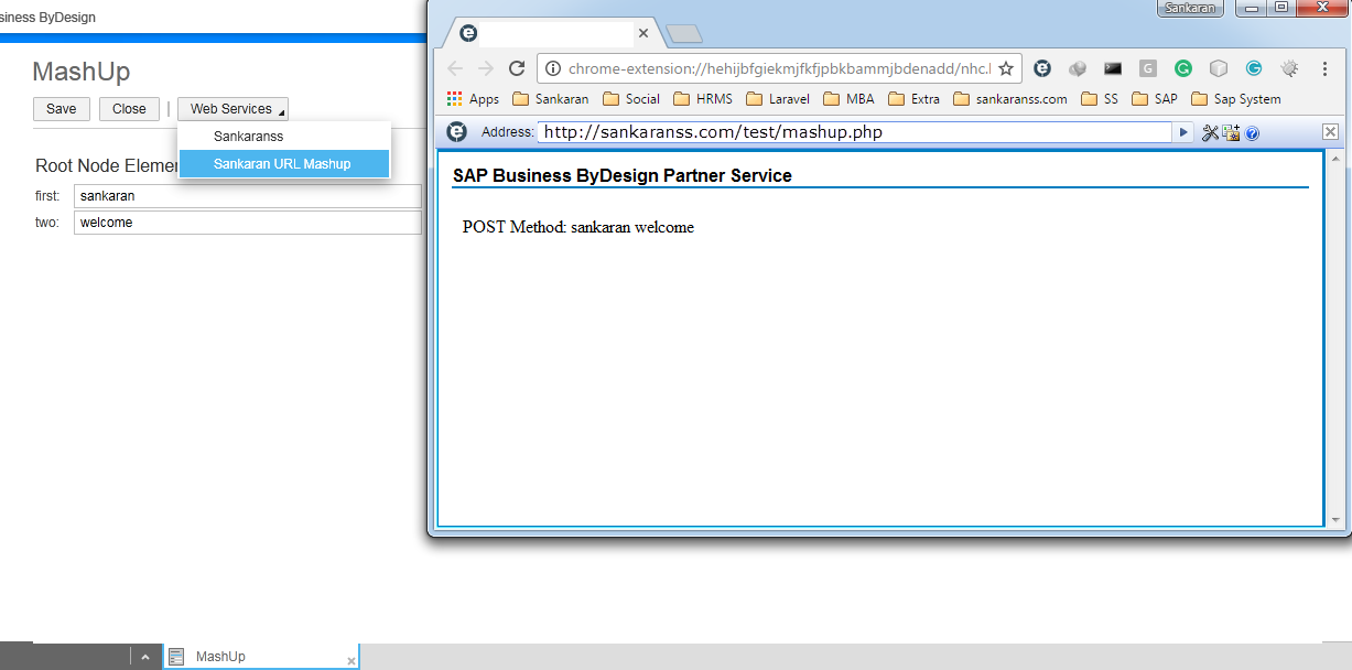 test result Mashup sap cloud application studio